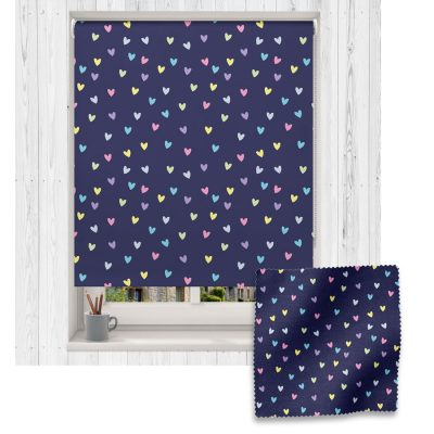 Rainbow and Navy Heart roller blind includes a heart themed roller blind perfect for decorating a children's room