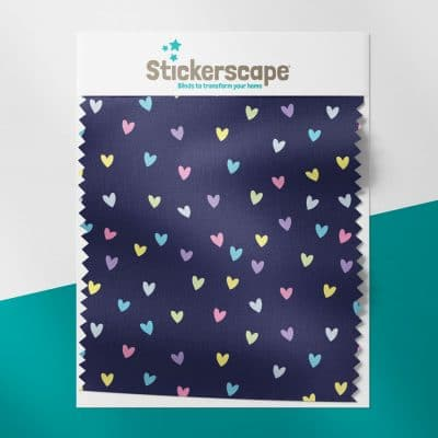 Rainbow and Navy Hearts swatch for roller blind