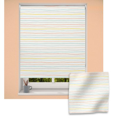 Horizontal Scandi Stripes roller blind includes a heart themed roller blind perfect for decorating a children's room