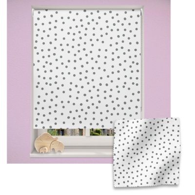 Grey Polka Dot roller blind includes a heart themed roller blind perfect for decorating a children's room