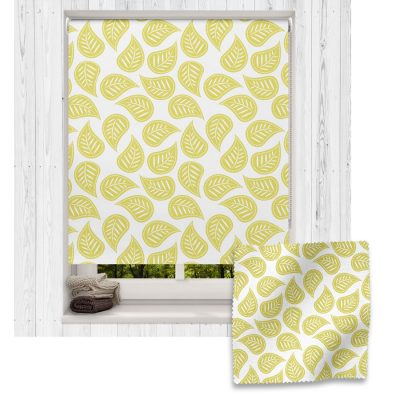 Flax Yellow Leaves roller blind includes a heart themed roller blind perfect for decorating a children's room