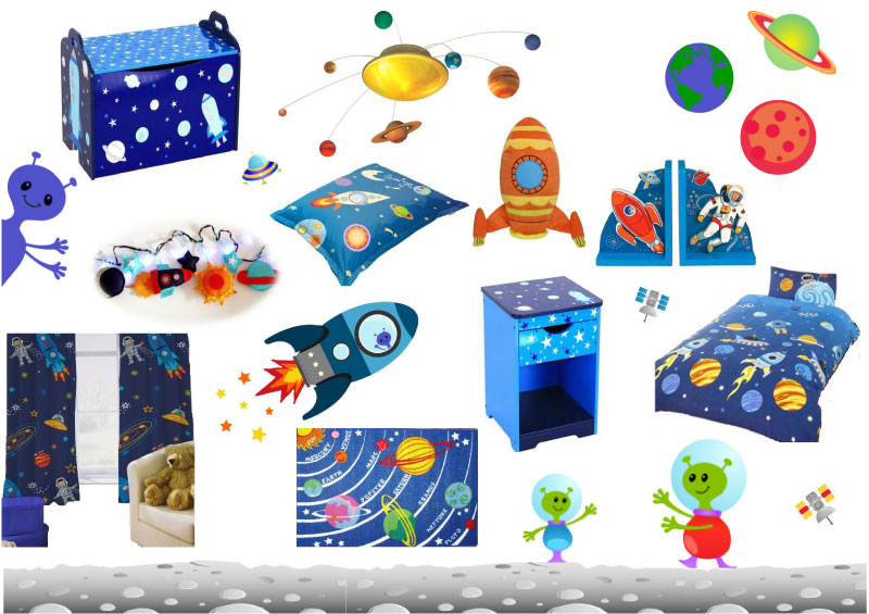 Space Themed Wall Stickers Room Decoration Ideas
