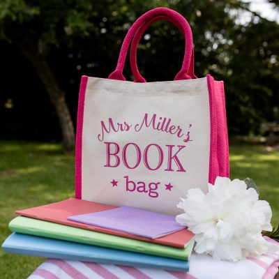 Personalised book bag canvas bag (Pink bag - pink text) perfect as a thank you gift for teachers