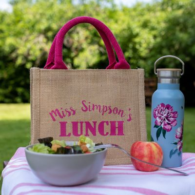 Personalised lunch bag (Pink bag - pink text) perfect as a thank you gift for teachers
