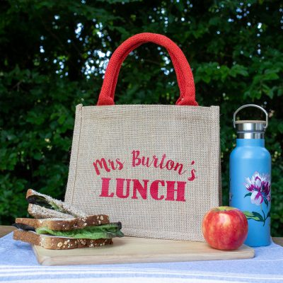 Personalised lunch bag (Red bag - red text) perfect as a thank you gift for teachers