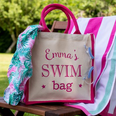 Personalised swim canvas bag (Pink bag) perfect gift for a swimming teacher