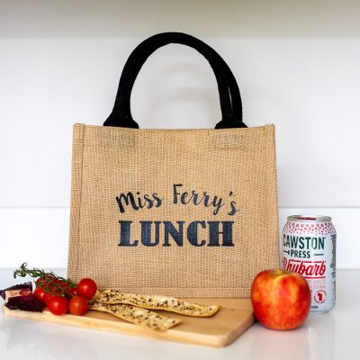 Personalised lunch bag (Black bag - Black text) perfect as a thank you gift for teachers