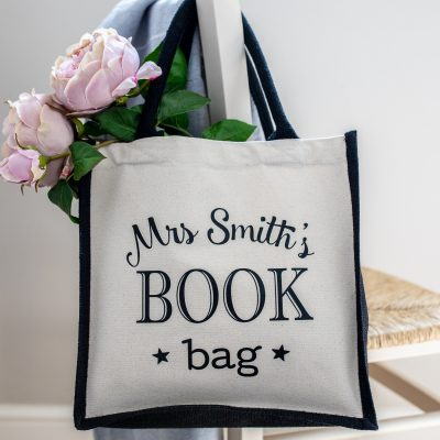Personalised book bag canvas bag (Black bag - black text) perfect as a thank you gift for teachers