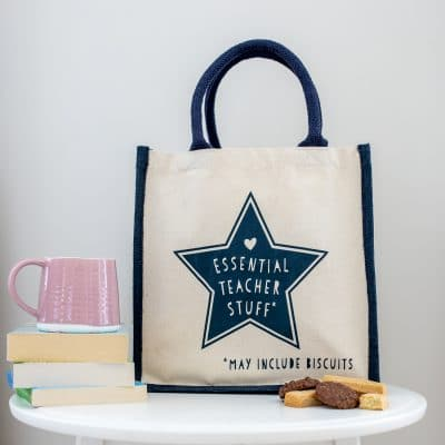 Essential teacher stuff canvas bag (Navy bag - navy text) perfect as a thank you gift for teachers