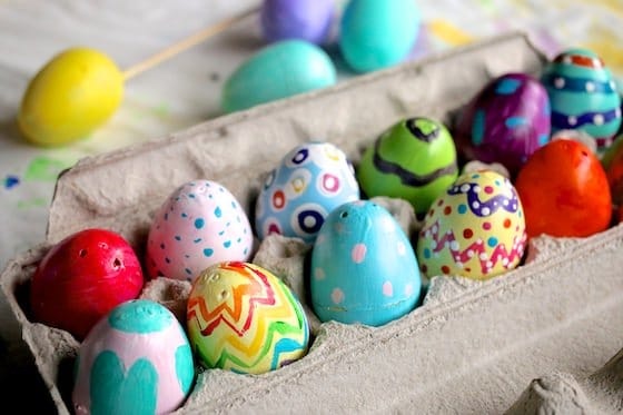 carton painted plastic easter eggs