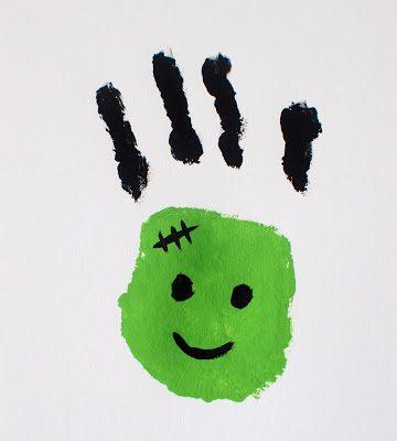 Frankenstein hand print   Halloween craft ideas for kids   Stickerscape   UK